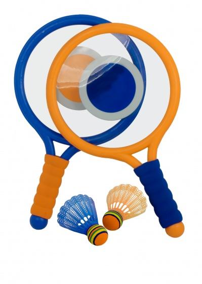 badmintonset 40 cm blauw/oranje 4-delig