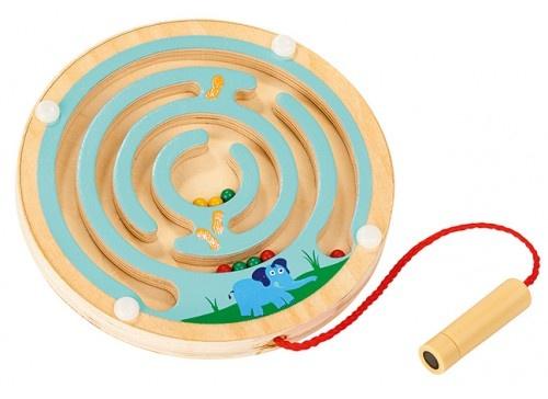 houten labyrinth met magneetstift blank/blauw 12 cm