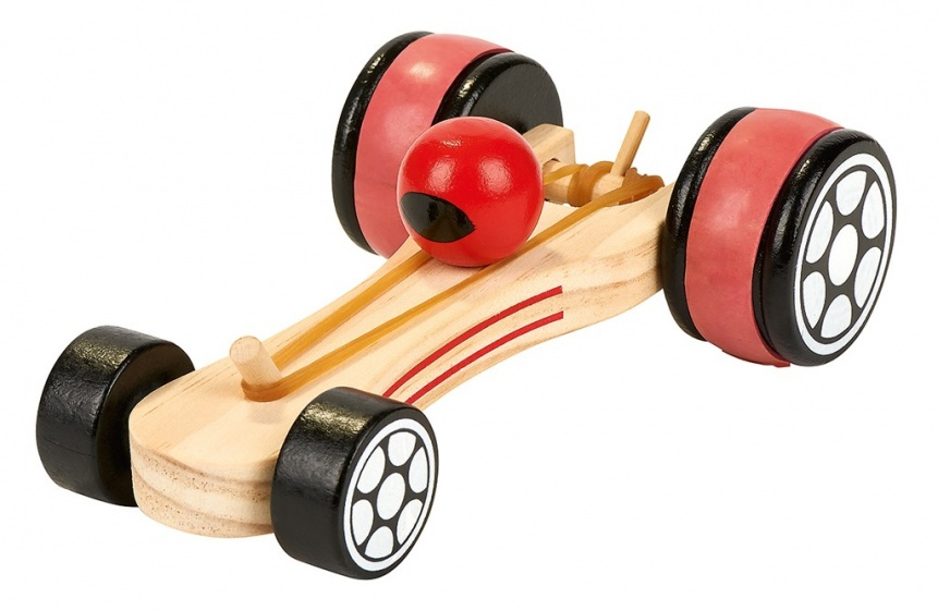 houten raceauto pull back 17 cm blank