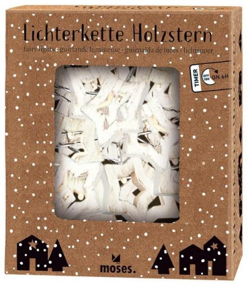 kerst-lichtsnoer sterren 1,2 m hout wit