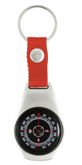 sleutelhanger met kompas 9,5 cm rood