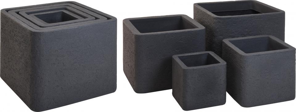 bloempottenset Cube 29 tot 59 cm kunststof antraciet