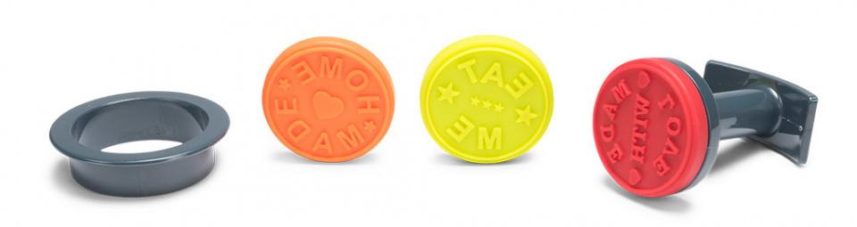koekjesstempel 5 cm siliconen rood/oranje/geel 5-delig