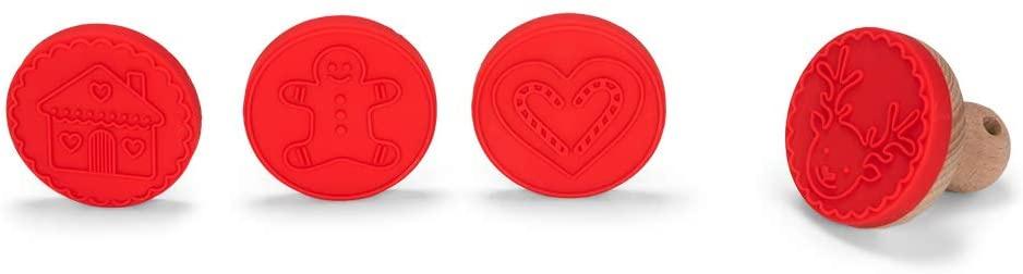 koekjesstempel junior 6 cm siliconen/hout rood 4-delig