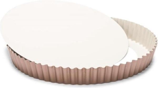 quichevorm met losse bodem 28 cm staal koper/beige