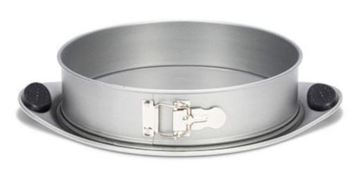 springvorm met siliconen grepen 26 cm staal zilver