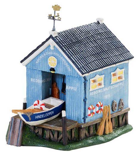 kersthuisje t Blauwe Hok Hindeloopen 10 x 14 x 15 cm blauw