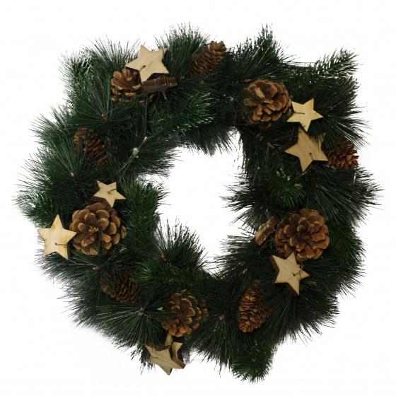 Peha kerstkrans met decoratie 40 cm groen/bruin