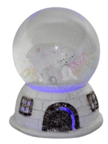 waterbal IJsbeer 11,5 cm led glas/keramiek wit