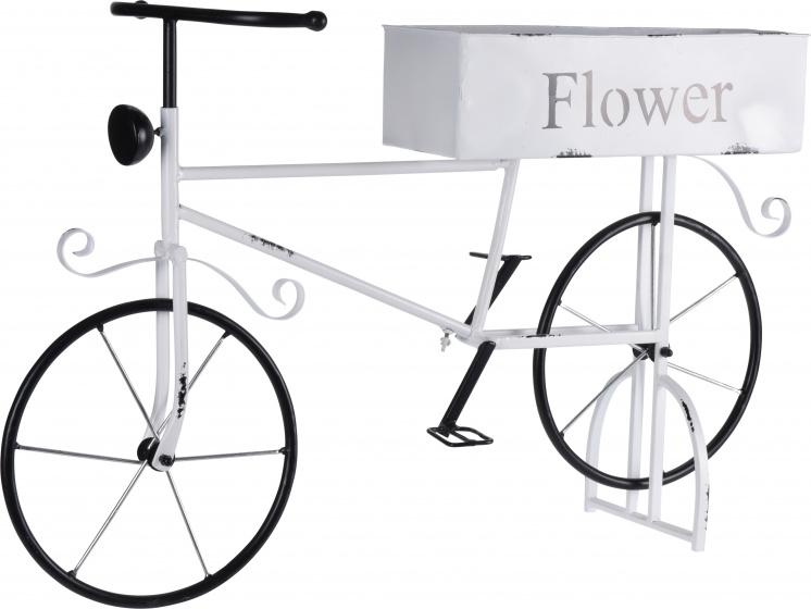 bloempothouder fiets 67 x 16 x 47 cm staal wit