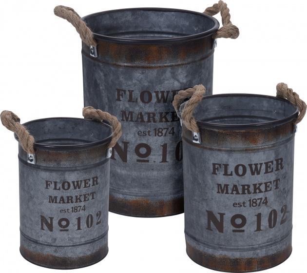 Pro Garden decoratie emmerset 3 stuks 5/8/12 liter