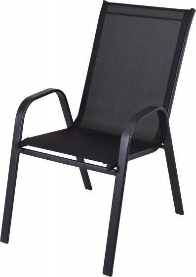 stapelstoel 54 x 74 x 93 cm staal/polyester zwart