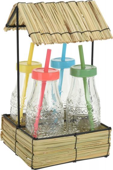 drinkflessen met rietje 500 ml glas 5-delig