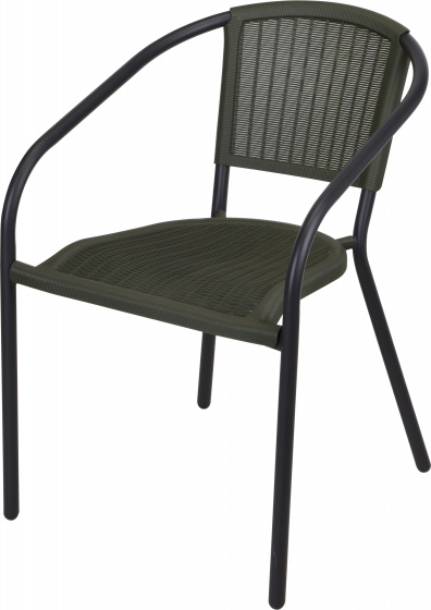 stapelstoel Tuin staal 80 cm zwart/legergroen