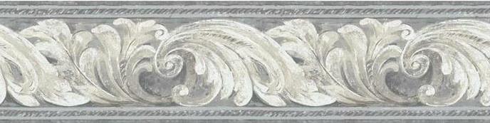 muursticker Leaves 4,6 meter vinyl grijs/wit