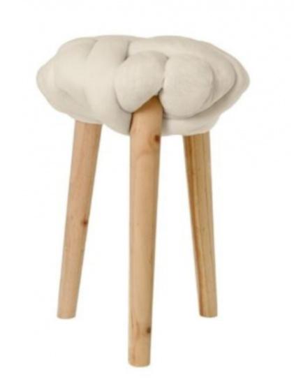 krukje 30 x 44 cm hout/katoen blank/beige