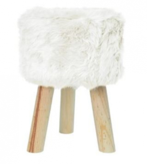 kruk 28 x 28 cm hout/polyester blank/wit