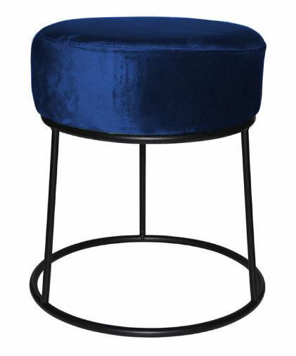 kruk 32 x 38 cm fluweel/staal zwart/blauw