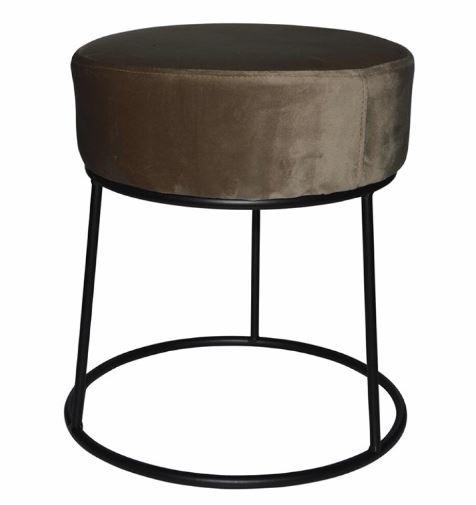 kruk 32 x 38 cm fluweel/staal zwart/bruin
