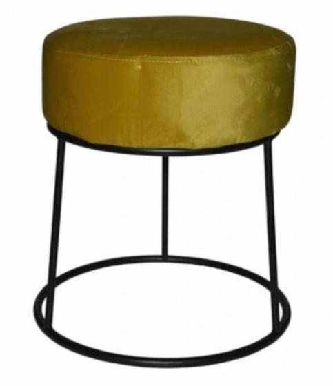 kruk 32 x 38 cm fluweel/staal zwart/geel