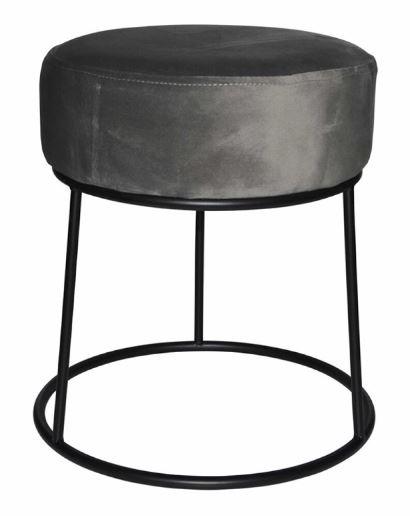 kruk 32 x 38 cm fluweel/staal zwart/grijs