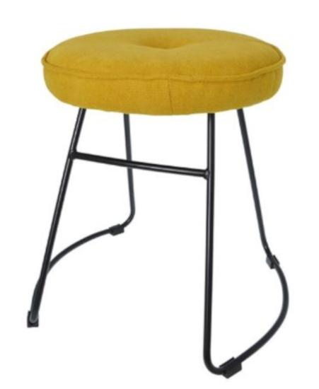 kruk 43 x 47 x 46 cm fluweel/staal geel/zwart
