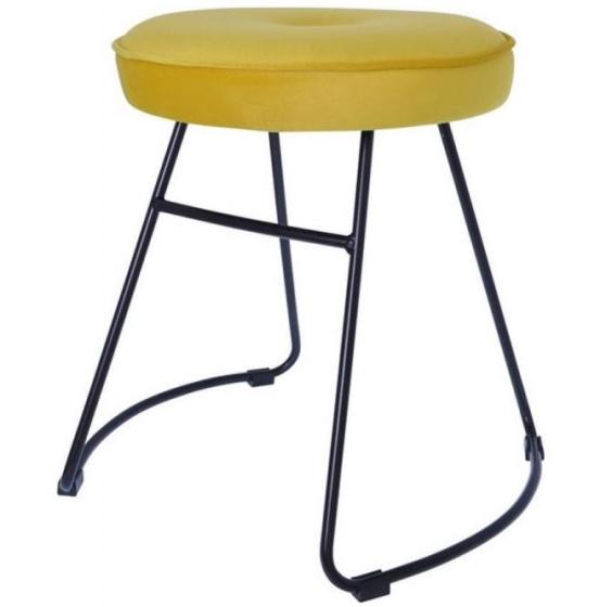 kruk 43 x 47 x 46 cm fluweel/staal zwart/geel