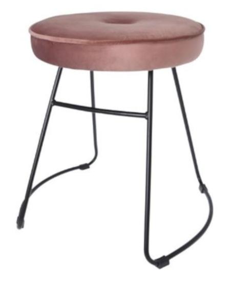 kruk 43 x 47 x 46 cm fluweel/staal zwart/roze