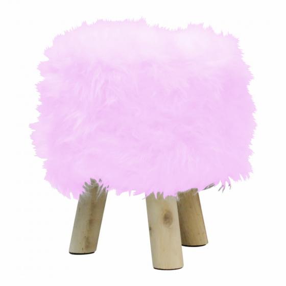 kruk vacht 38 cm hout/polyester blank/roze