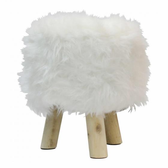 kruk vacht 38 cm hout/polyester blank/wit