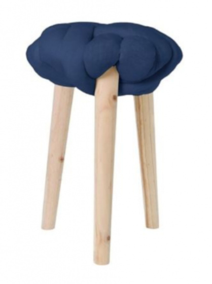 krukje 30 x 44 cm hout/katoen blank/blauw