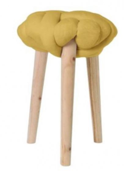 krukje 30 x 44 cm hout/katoen blank/geel