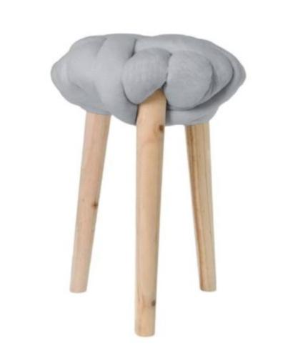 krukje 30 x 44 cm hout/katoen blank/grijs