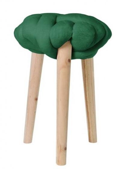 krukje 30 x 44 cm hout/katoen blank/groen