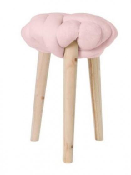 krukje 30 x 44 cm hout/katoen blank/roze
