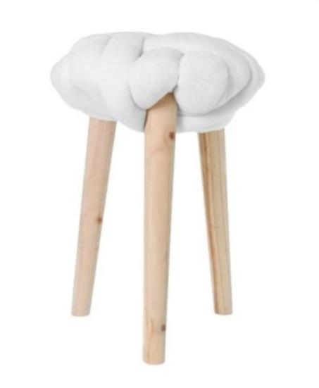 krukje 30 x 44 cm hout/katoen blank/wit