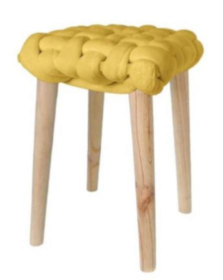 krukje 32 x 43 cm hout/katoen blank/geel