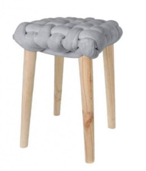 krukje 32 x 43 cm hout/katoen blank/grijs