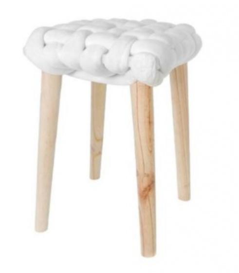 krukje 32 x 43 cm hout/katoen blank/wit