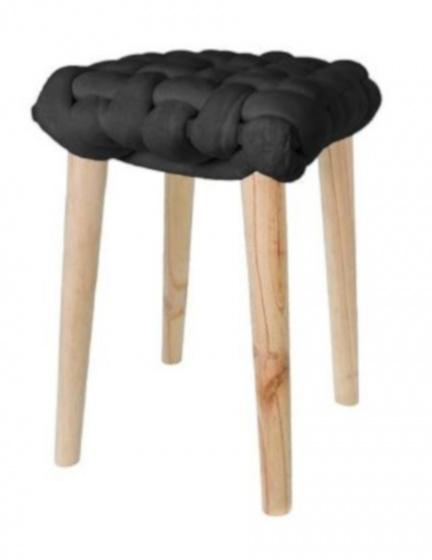 krukje 32 x 43 cm hout/katoen blank/zwart