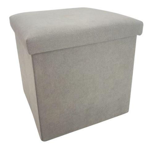 opbergbox/poef 38 cm 55 liter alcantara grijs