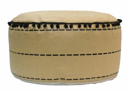 poef 45 x 25 cm riet/polyester beige