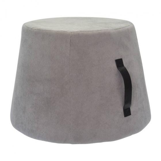 poef 45 x 37 cm fluweel/polyurethaan grijs