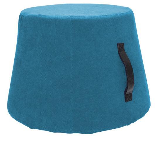 poef 45 x 37 cm polyurethaan/fluweel lichtblauw
