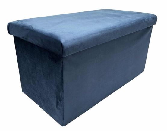 poef opvouwbaar 76 x 38 x 38 cm fluweel blauw