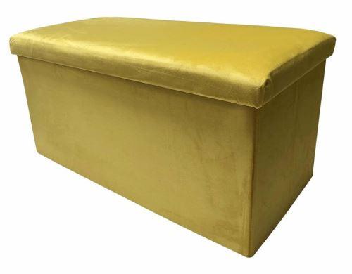 poef opvouwbaar 76 x 38 x 38 cm fluweel goud