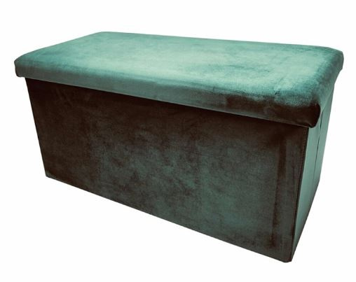 poef opvouwbaar 76 x 38 x 38 cm fluweel groen