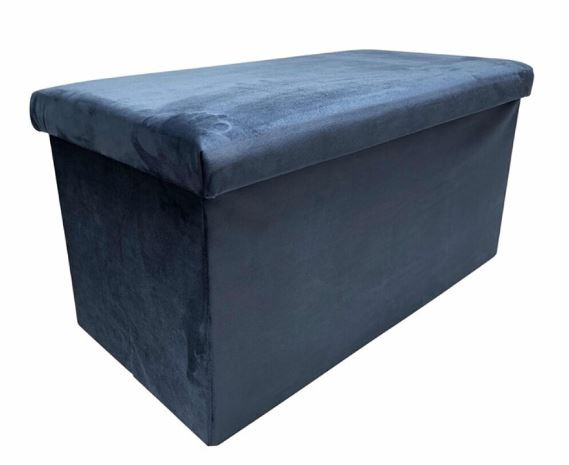 poef opvouwbaar 76 x 38 x 38 cm fluweel marineblauw