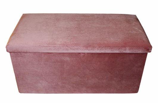 poef opvouwbaar 76 x 38 x 38 cm fluweel roze