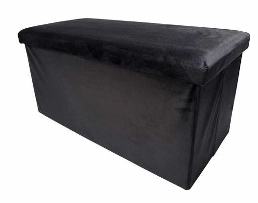 poef opvouwbaar 76 x 38 x 38 cm fluweel zwart